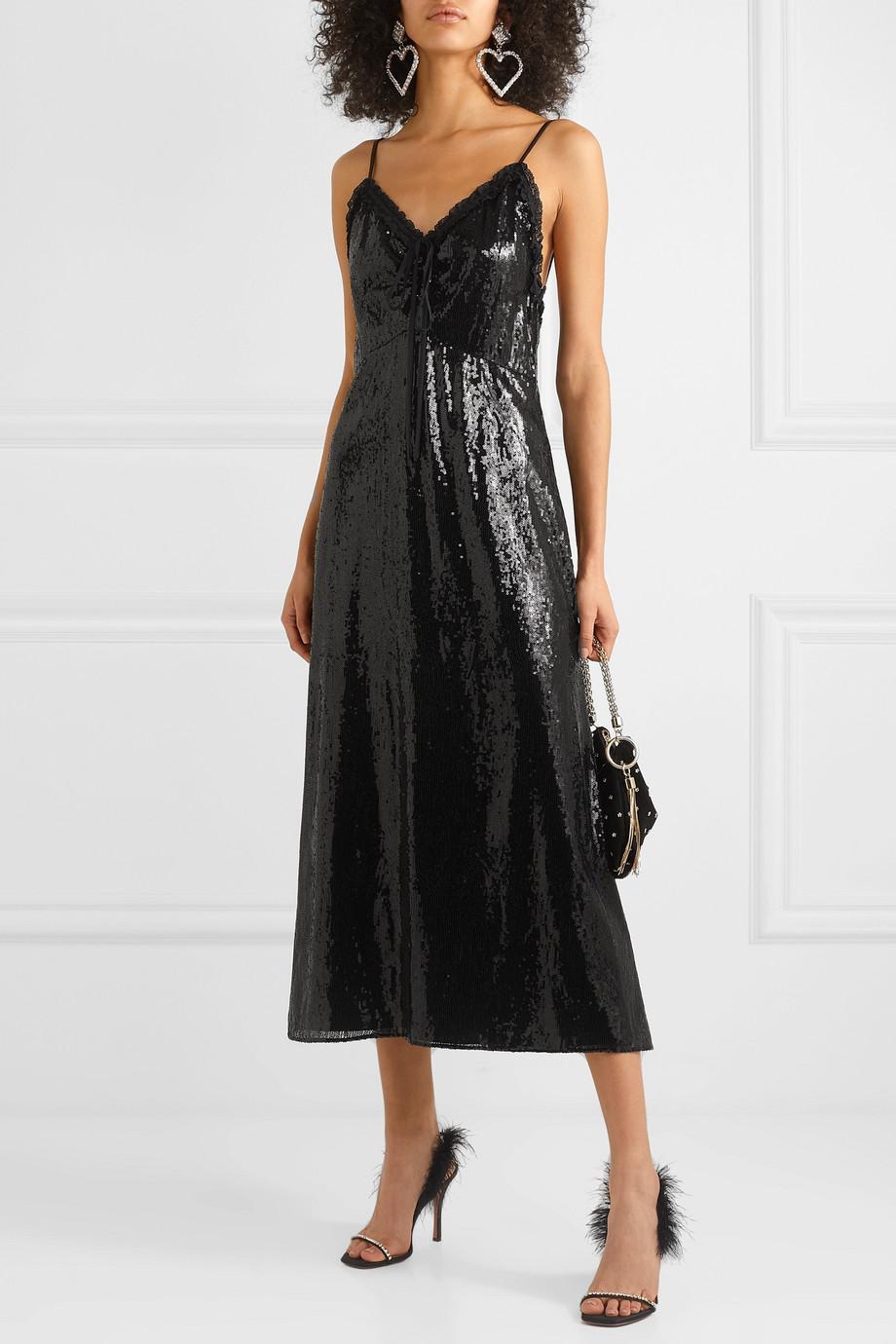 Miu Miu Open-back lace-trimmed sequined crepe midi dress