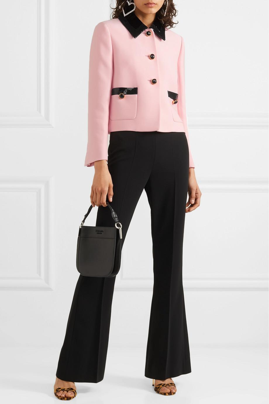 Miu Miu Sequin-embellished velvet-trimmed cady jacket