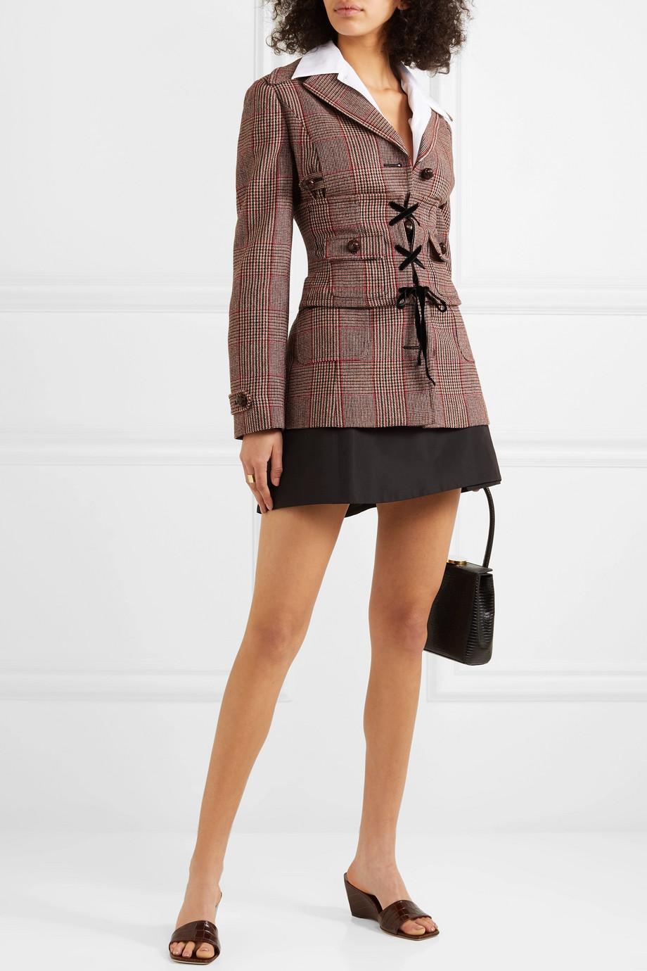 Miu Miu Belted Prince of Wales checked wool-blend blazer