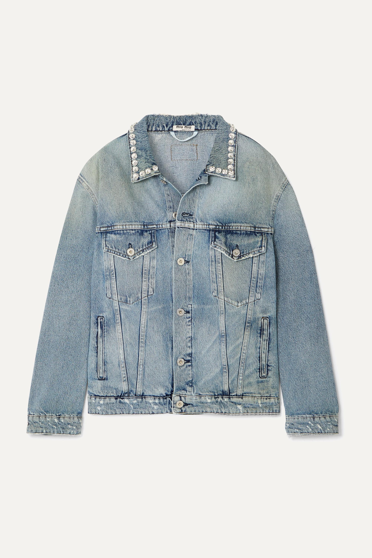 Miu Miu - Oversized crystal-embellished denim jacket
