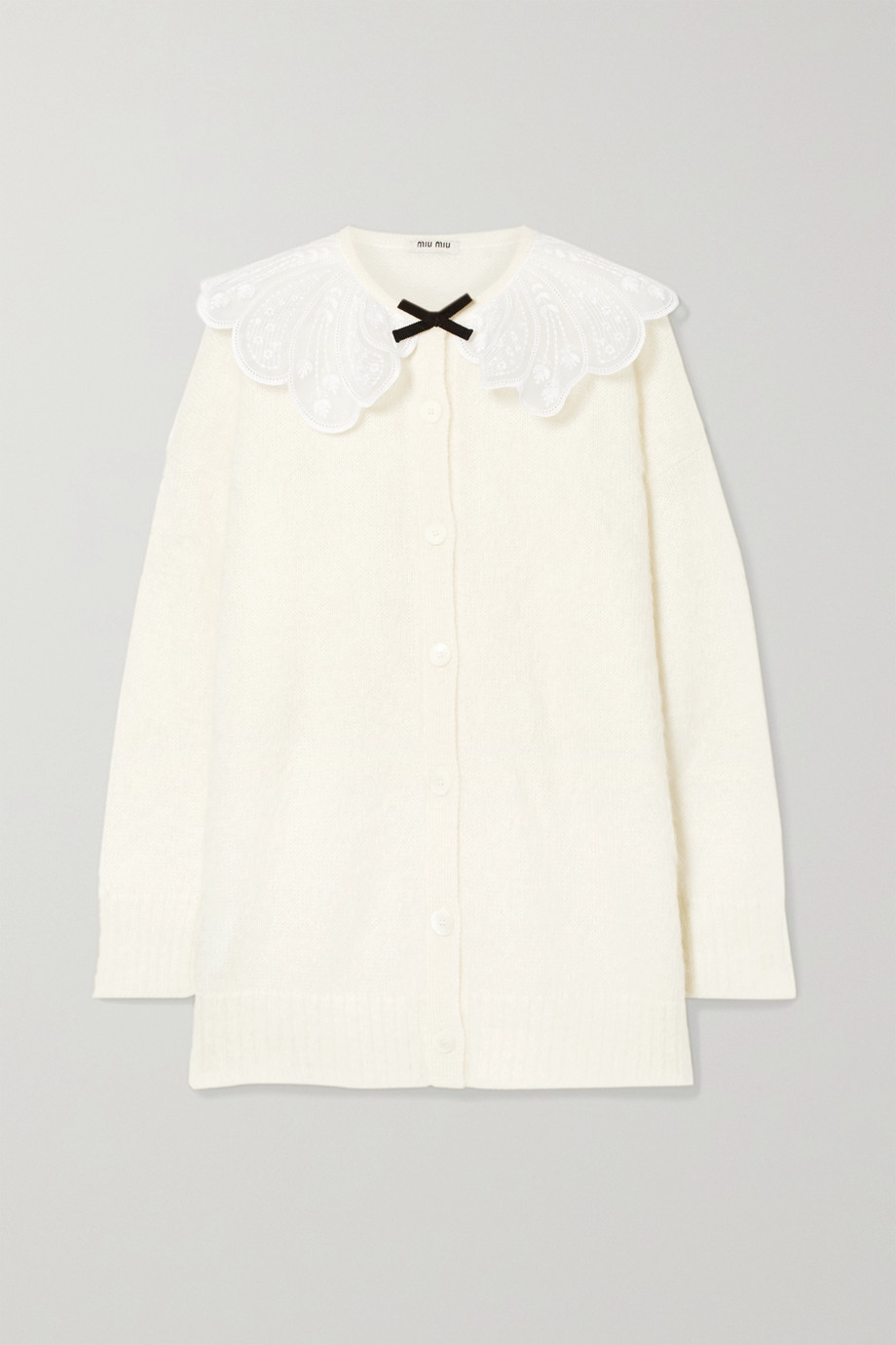 Miu Miu Oversized embroidered gauze-trimmed mohair-blend cardigan