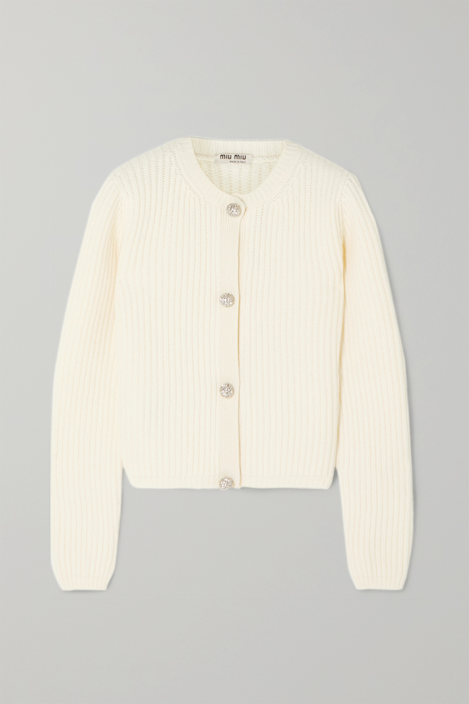 Miu Miu Cropped crystal-embellished ribbed cashmere cardigan
