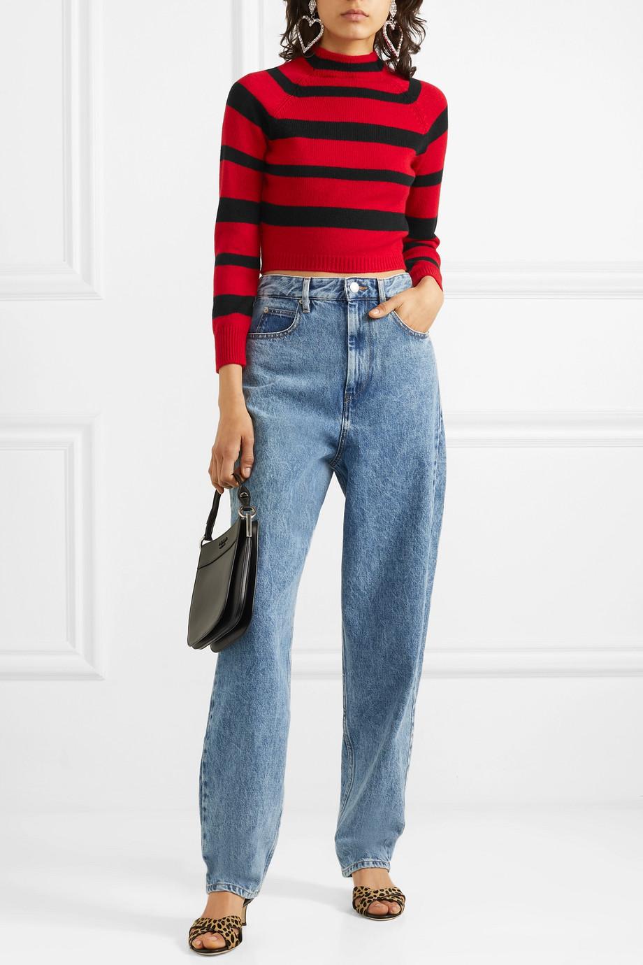 Miu Miu Cropped striped cashmere sweater