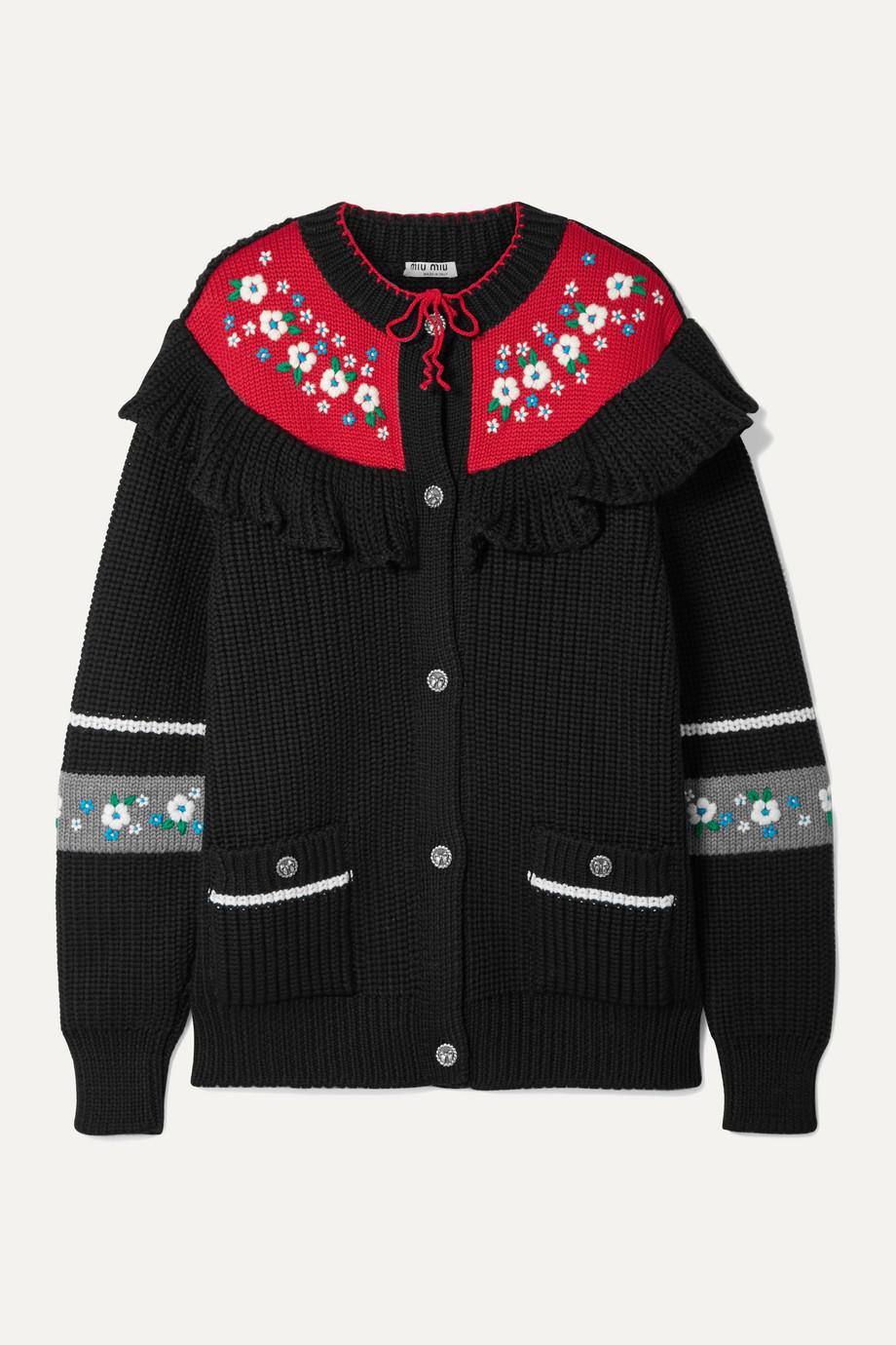 Miu Miu Cardigan en laine à broderie et à volants