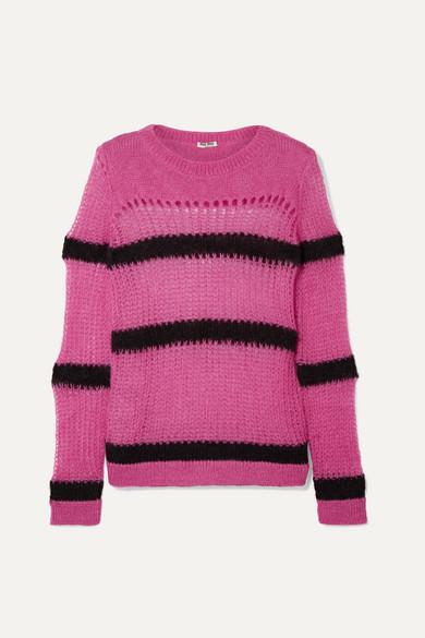 166518c645dcfe Miu Miu   Striped open-knit mohair-blend sweater   NET-A-PORTER.COM