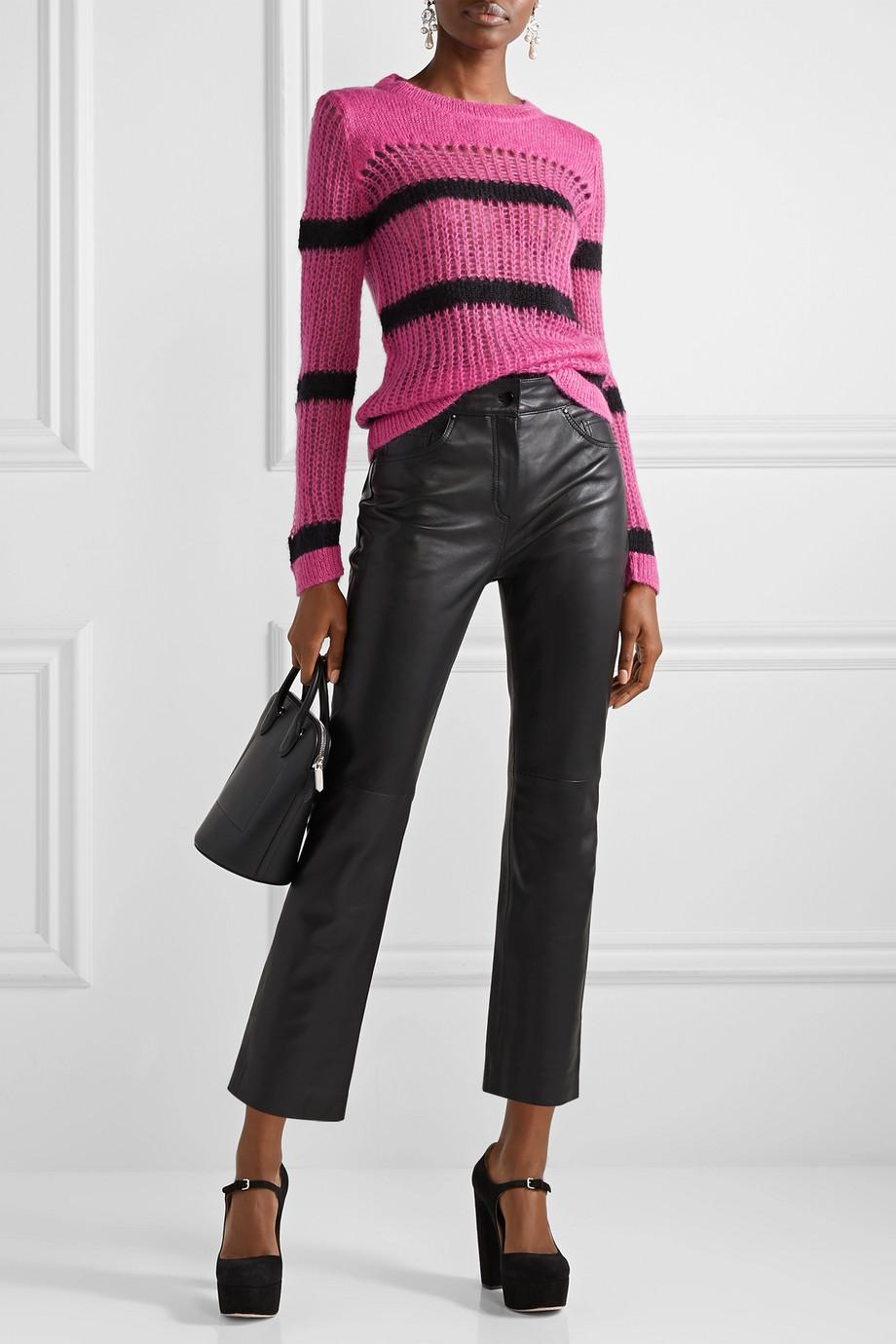 Miu Miu Striped open-knit mohair-blend sweater