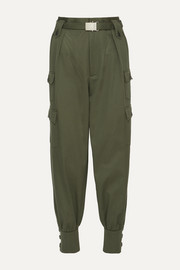 Belted cotton-gabardine tapered pants