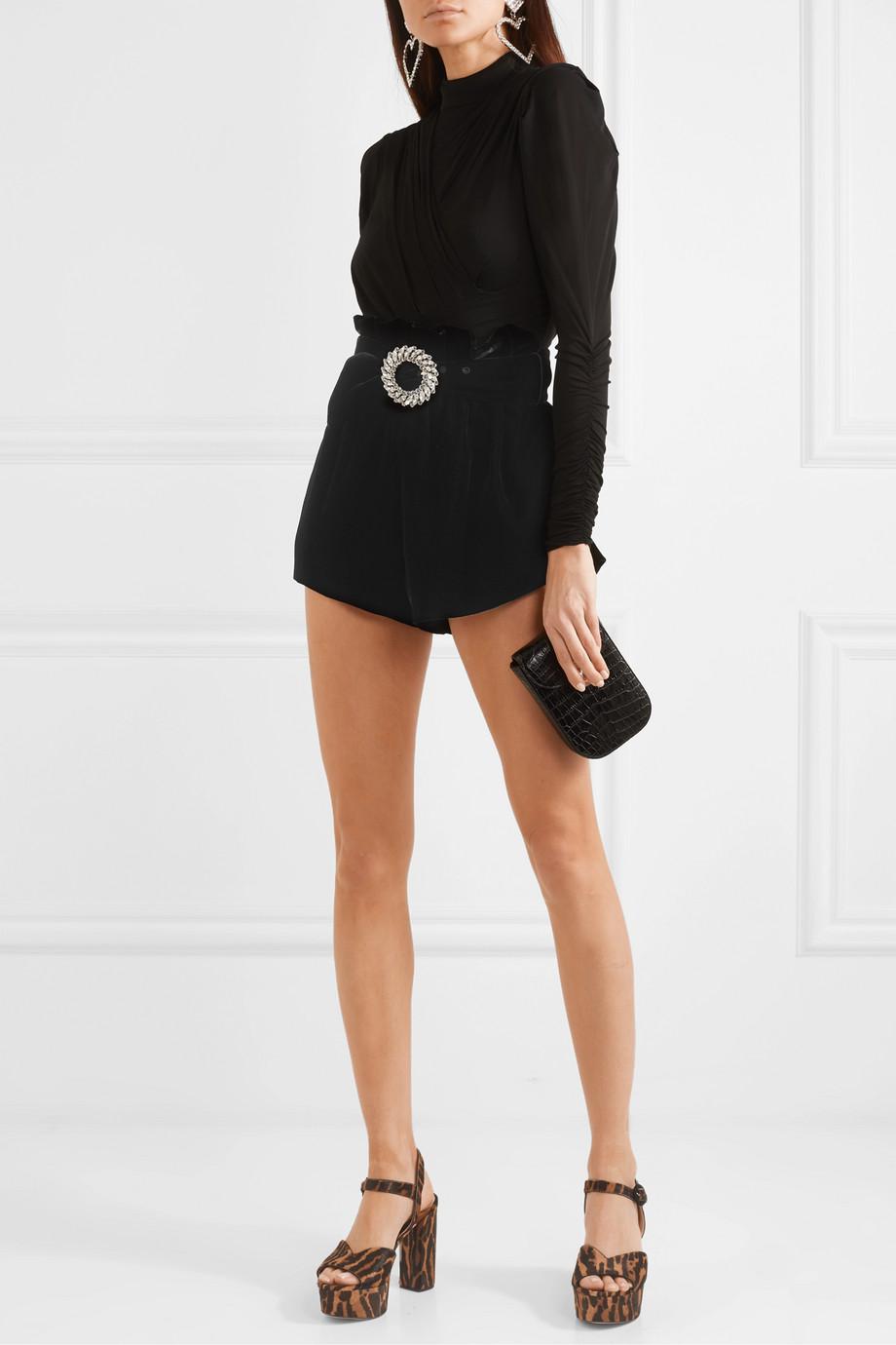 Miu Miu Shorts aus Samt mit Gürtel