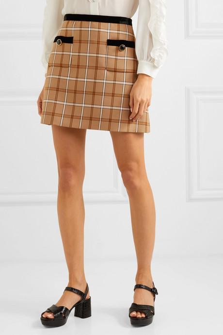 Velvet-trimmed checked woven mini skirt