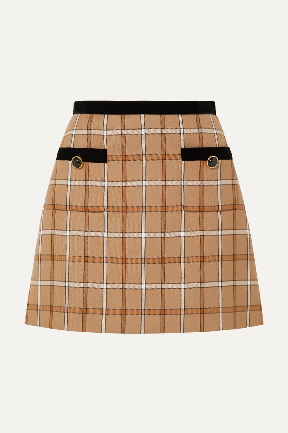 Miu Miu Velvet-trimmed checked woven mini skirt