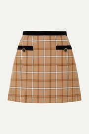 Velvet-trimmed checked woven mini skirt