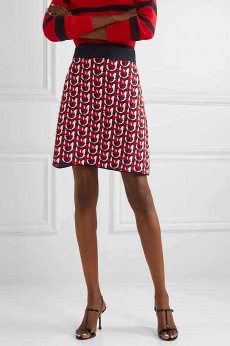 Wool-blend jacquard-knit mini skirt
