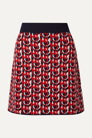 Wool-blend jacquard-knit mini skirt