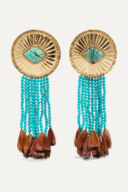 Aurélie Bidermann Navajo gold-plated, turquoise and feather earrings