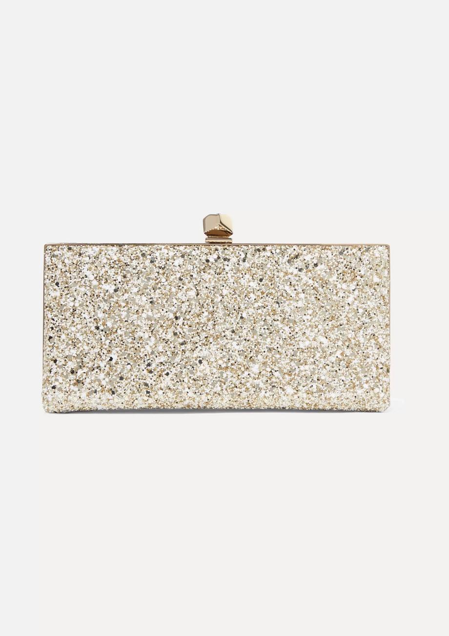 Jimmy Choo Celeste glittered leather clutch