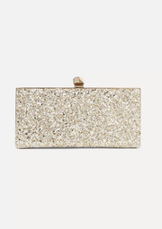 Celeste glittered leather clutch