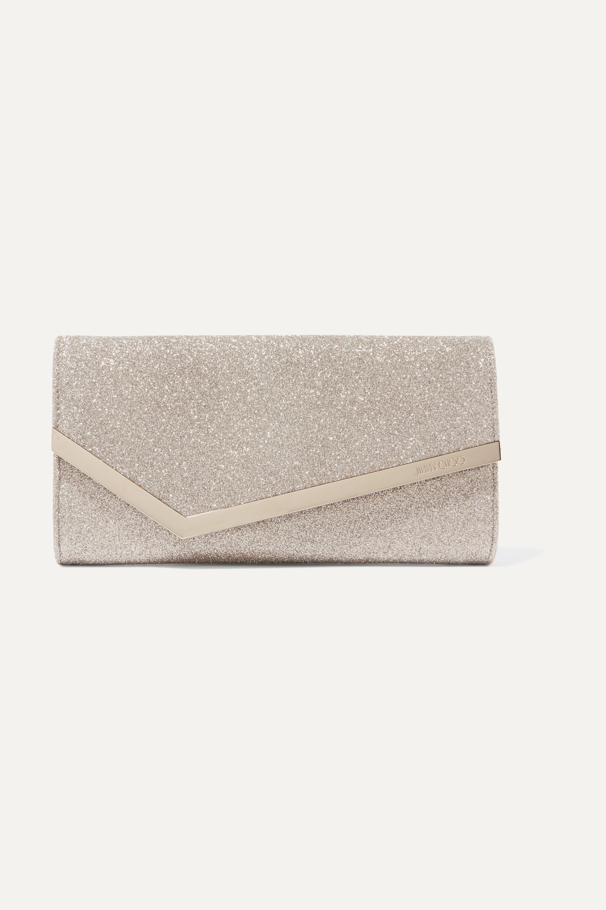 Jimmy Choo Emmie glittered leather clutch