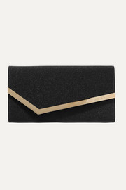 Emmie glittered leather clutch