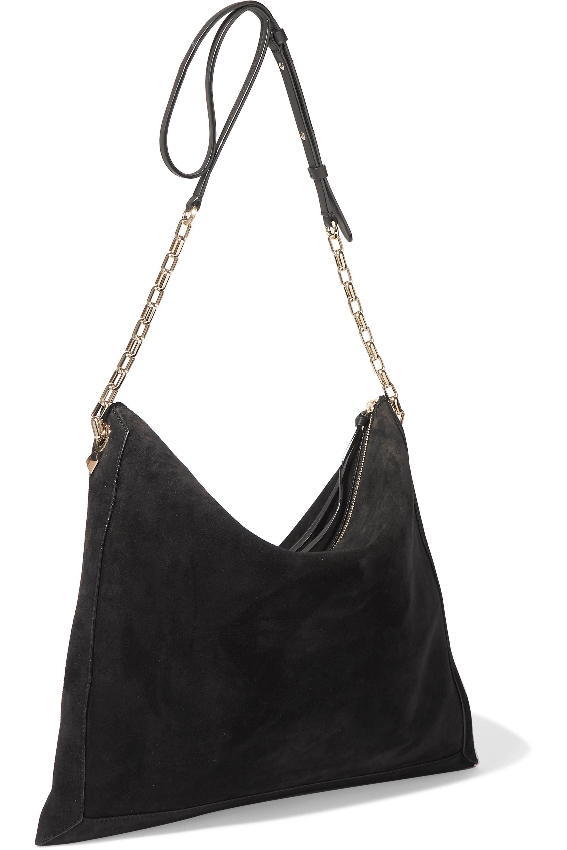 Jimmy Choo Varenne leather-trimmed suede shoulder bag