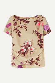 Cerus gathered floral-print cotton-poplin top