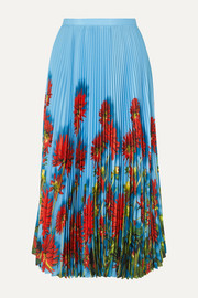Dries Van Noten Sax pleated floral-print crepe de chine midi skirt