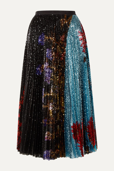 Pleated Sequined Floral Print Tulle Midi Skirt by Dries Van Noten