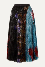 Dries Van Noten Pleated sequined floral-print tulle midi skirt