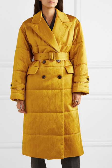 Renata belted quilted satin coat