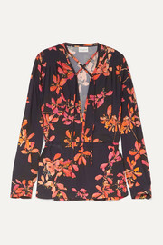 Gathered floral-print crepe de chine blouse