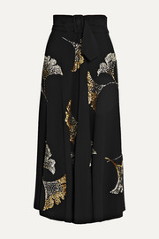 Dries Van Noten Simiana belted sequin-embellished crepe midi skirt