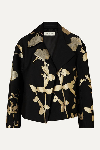 Vaudi Cropped Metallic Floral Jacquard Jacket by Dries Van Noten