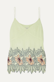 Dries Van Noten Embroidered crepe camisole