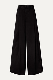 Podium belted satin-crepe wide-leg pants