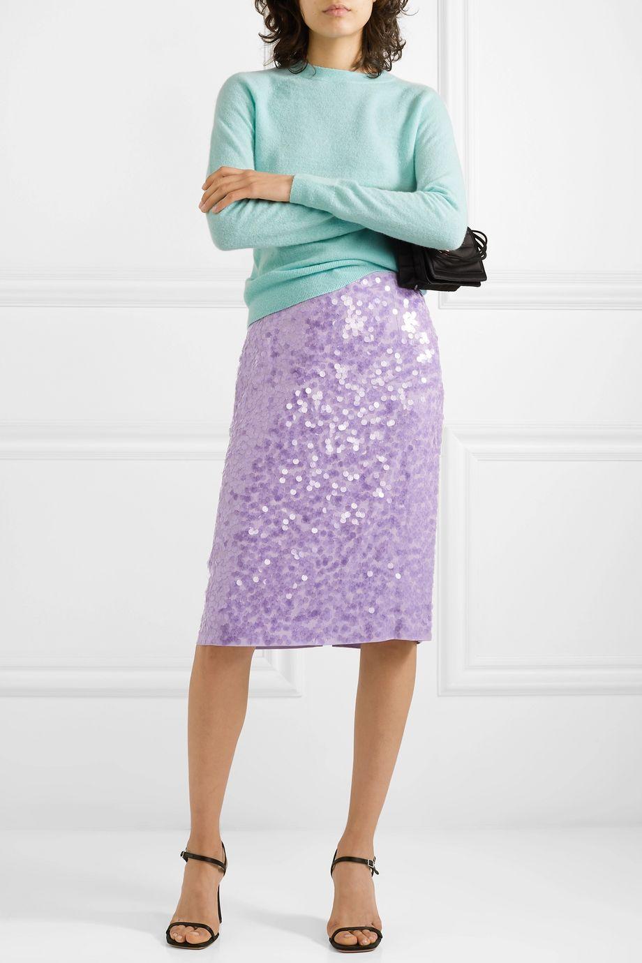 Dries Van Noten Sequined crepe skirt