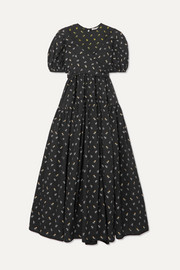 Anna tie-detailed tiered fil coupé cotton-poplin dress