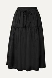 Cecilie Bahnsen Adea tiered cotton-poplin midi skirt