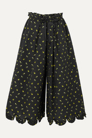 Cecilie Bahnsen Scalloped fil coupé cotton-poplin culottes