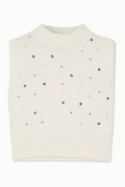Cecilie Bahnsen Alina bead-embellished wool-blend tank