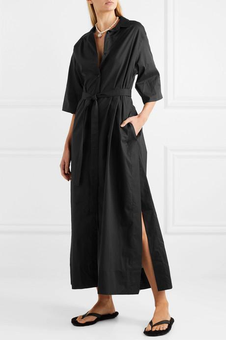 Belted cotton-poplin maxi dress