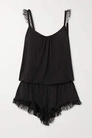 Iona point d'esprit tulle-trimmed stretch-modal playsuit