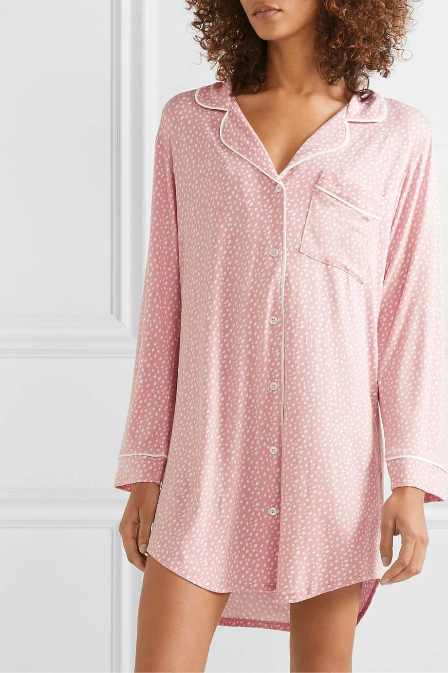 Eberjey Sleep Chic printed stretch-modal pajama shirt