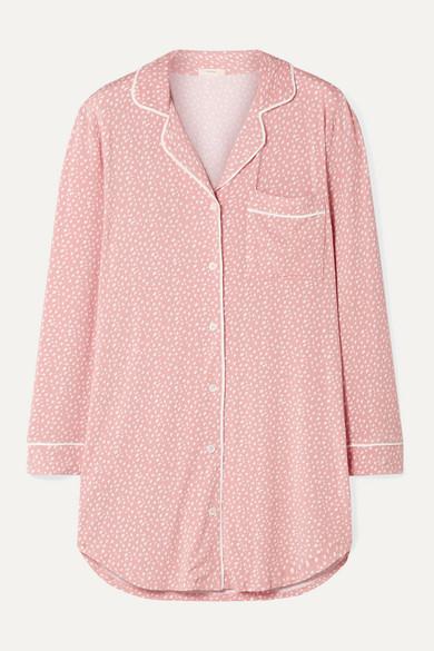 Eberjey Sleep Chic Printed Stretch-modal Pajama Shirt In Baby Pink