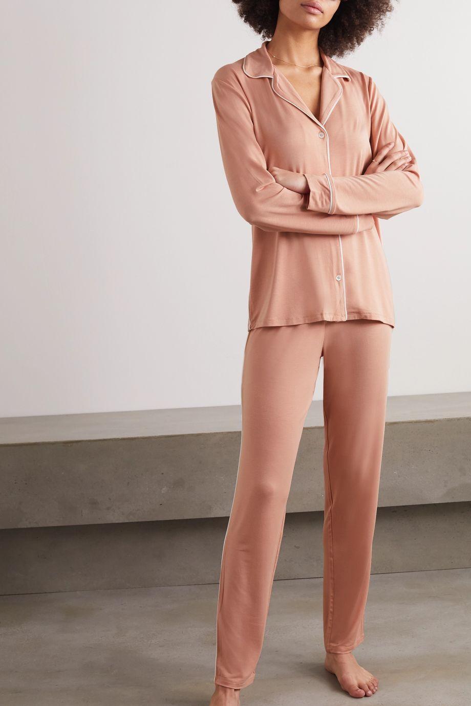 Eberjey Gisele piped stretch-modal jersey pajama set