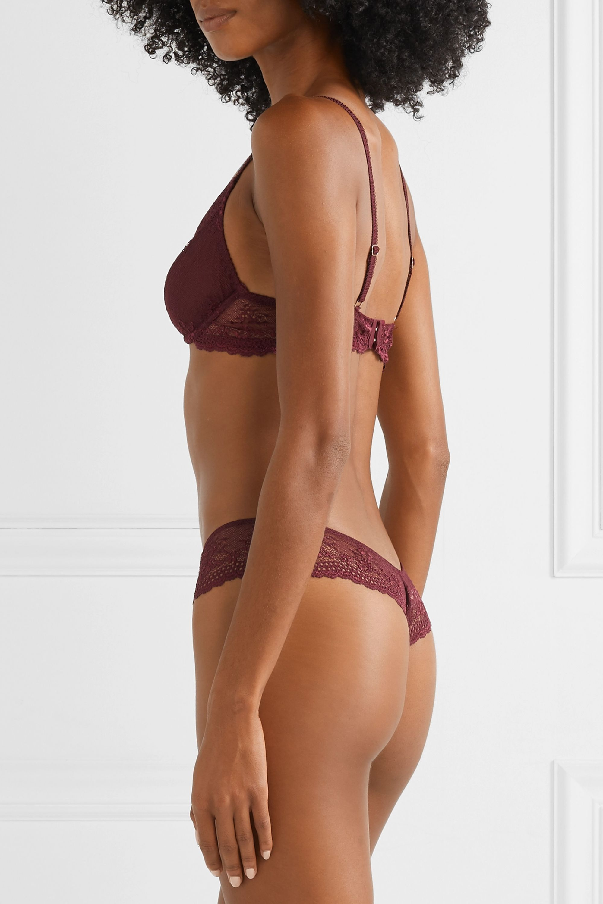 Eberjey Colette Plunge point d'esprit stretch-tulle and lace soft-cup underwired bra