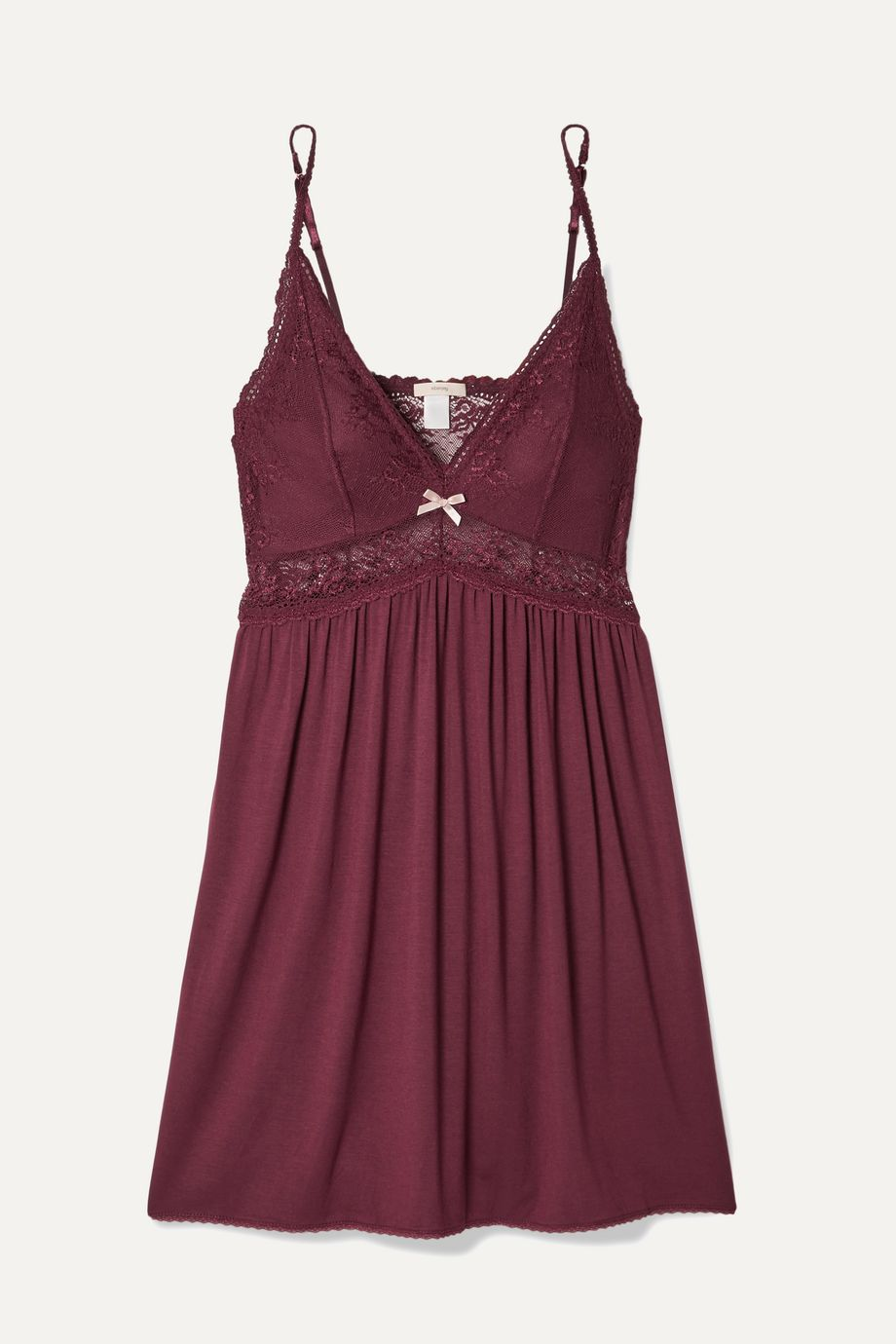 Eberjey Colette Mademoiselle point d'esprit stretch-tulle and lace-paneled stretch-modal chemise