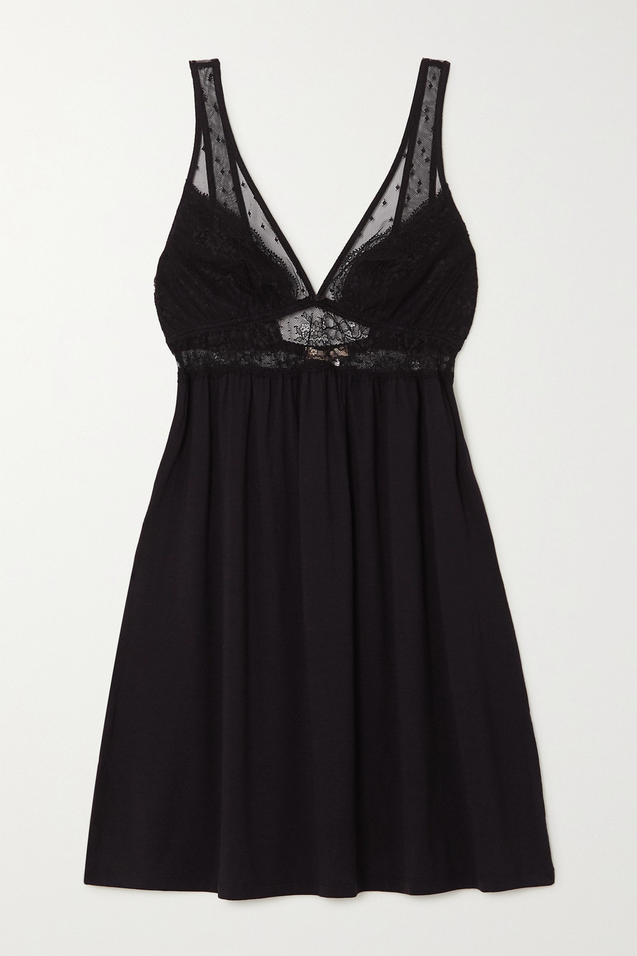 Eberjey Love Me stretch-modal, lace and point d'esprit tulle chemise