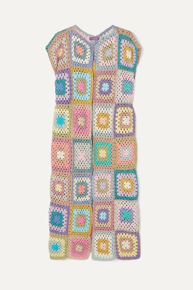 ROSE CARMINE | Rose Carmine - Patchwork Metallic Crochet-Knit Cardigan - Baby Pink | Goxip