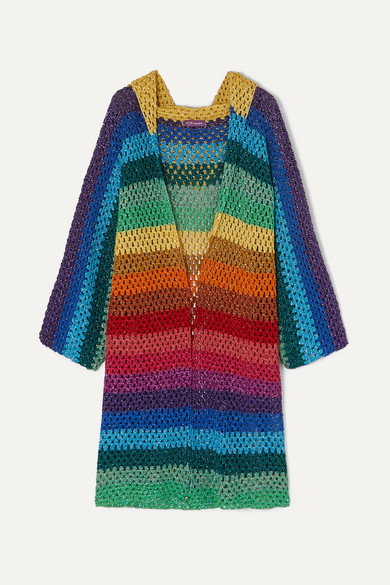 ROSE CARMINE | Rose Carmine - Striped Metallic Crochet-Knit Hooded Cardigan - Blue | Goxip