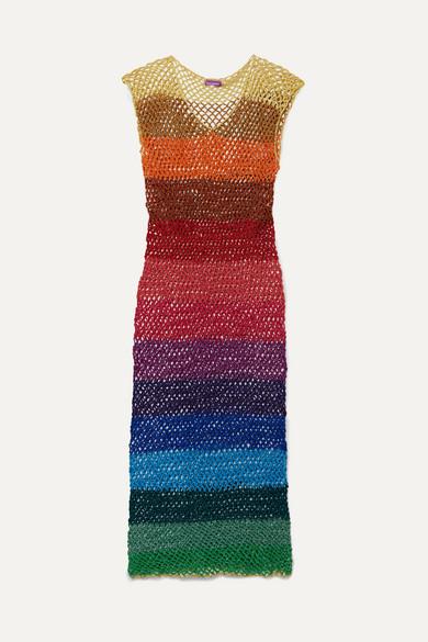 ROSE CARMINE | Rose Carmine - Metallic Striped Crochet-Knit Maxi Dress - Blue | Goxip