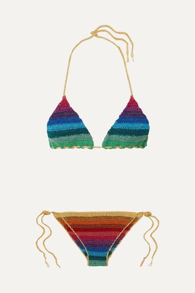 Bikini Triangle En Mailles Crochetées À Rayures Métallisées